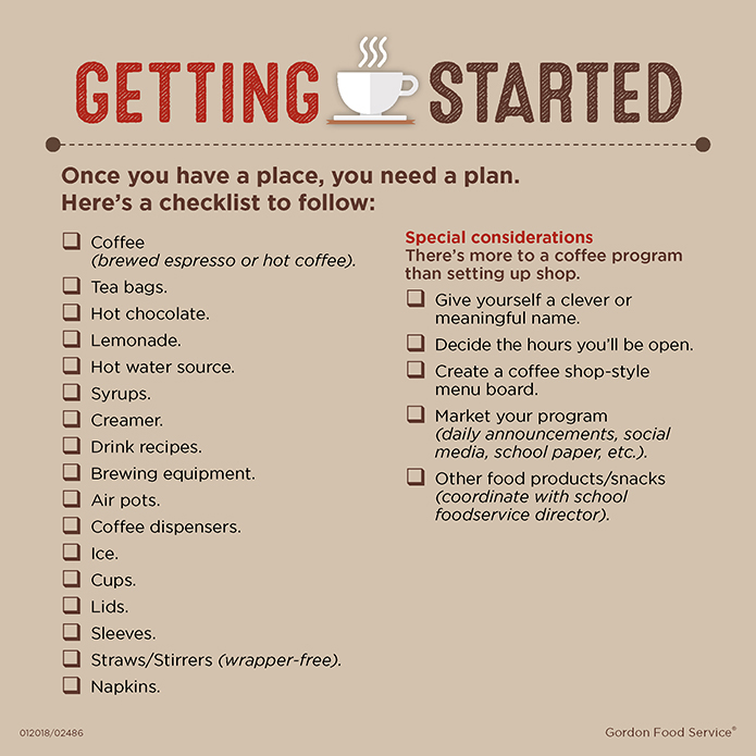 Checklist for starting a school coffee program