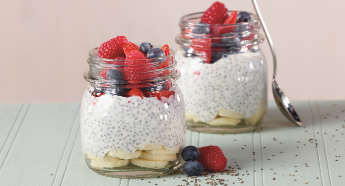 Two cups of Chia Seed Pudding with fruit