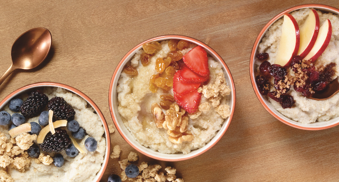 Three bowls with fonio porridge