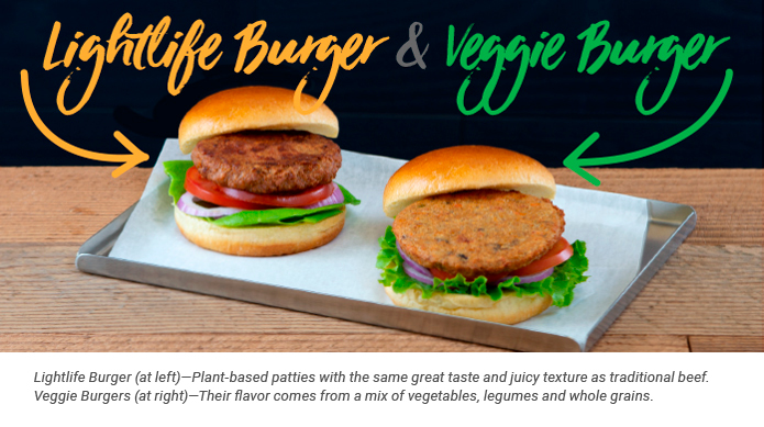 The Lightlife and Veggie Burgers side-by-side on a plate