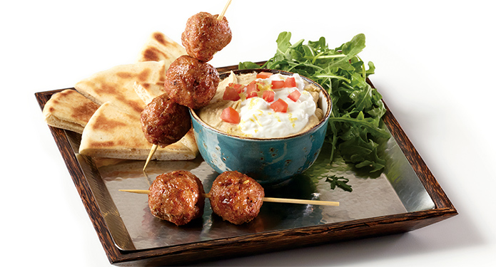 Merguez Turkey Meatballs with Hummus and Feta Labneh