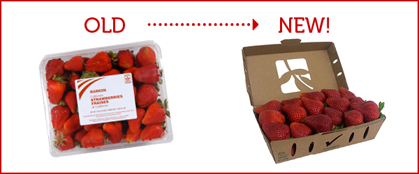 Old Markon packaging of strawberries compared to the new packaging