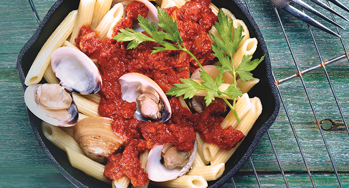 Nduja Clams and Rigatoni
