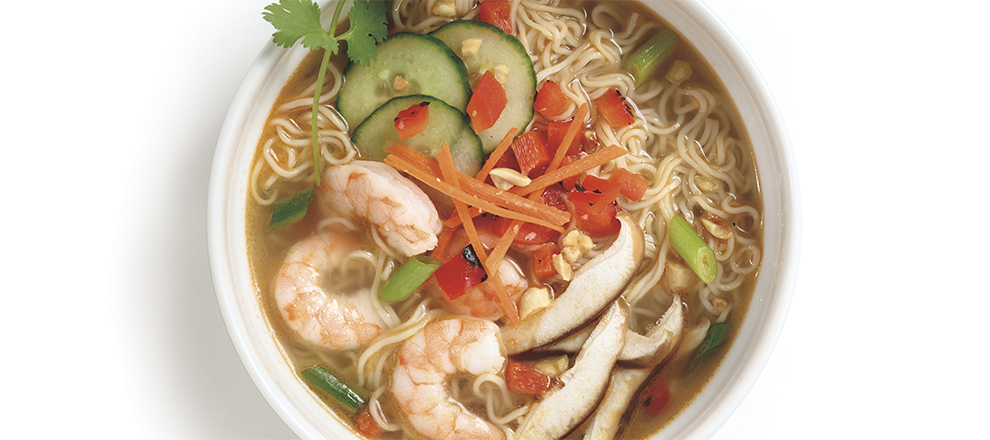 Shrimp and Red Pepper Noodle Bowl