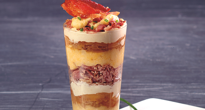 Pulled bacon parfait
