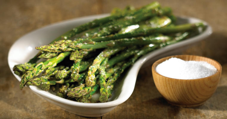 Asparagus and salt bowl