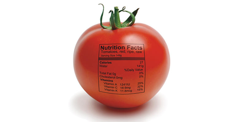 a tomato with a Nutrition Facts label printed on it