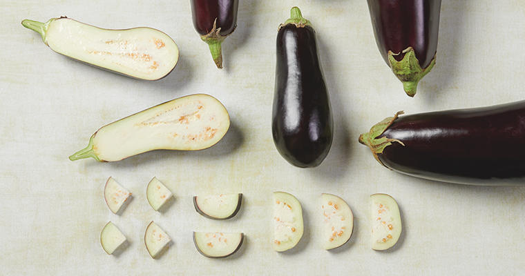 A variety of eggplants whole and sliced