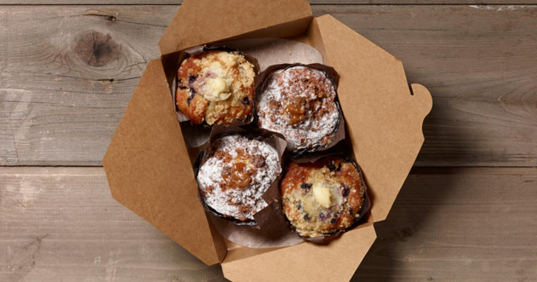 Four Sienna Bakery Stuffed Muffins in a box