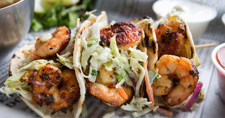 Shrimp tacos and slaw topping