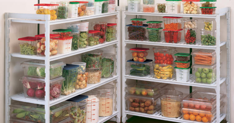 Fruits and vegetables in containers