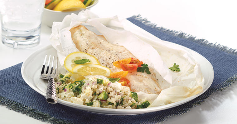 Walleye Papillote with Fonio Tabbouleh Salad