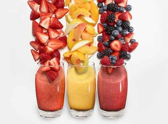 Fruit smoothies with real fruit