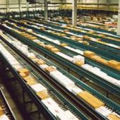 Boxes being sorted on conveyor belts