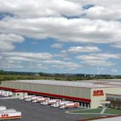 Distribution center with trucks nearby