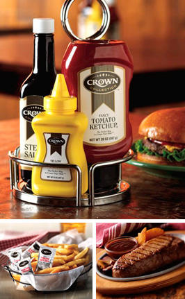 Crown condiment bottles
