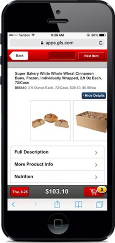 iPhone showing online ordering app