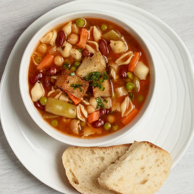 Loaded vegetable soup with bread