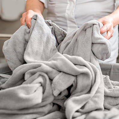 Commercial laundry service with towels