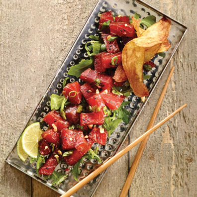 Tuna poke with chopsticks