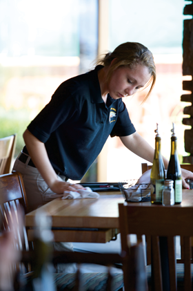 Waitress Cleaning